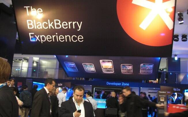 Estande da Research in Motion (RIM), fabricante do BlackBerry, no MWC traz poucas novidades