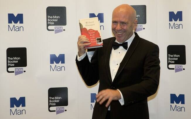 Australiano Richard Flanagan na entrega do Booker Prize em Londres (14/10/2014)