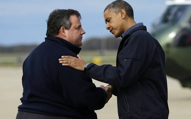 Presidente Barack Obama e o governador de Nova Jersey, Chris Christie, se encontram em Atlantic City