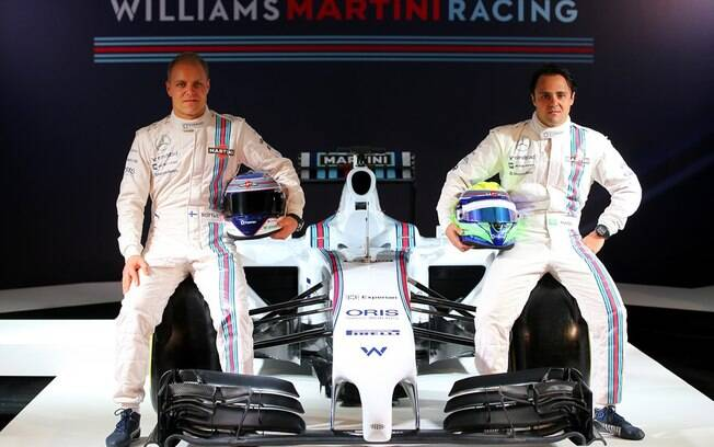 Valtteri Bottas e Felipe Massa no novo carro da Williams