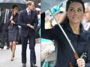 Kate Middleton se esconde da chuva ao lado do futuro marido Príncipe William