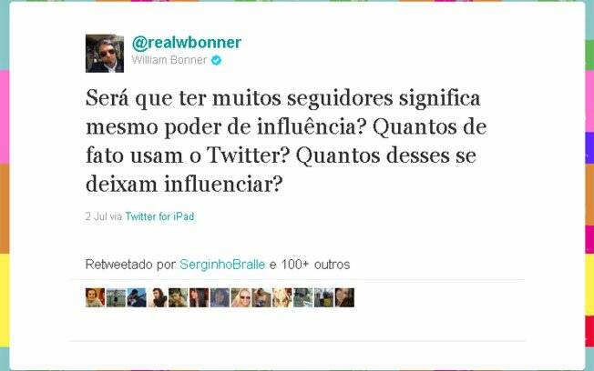 William Bonner faz seguidores de cobaia no Twitter