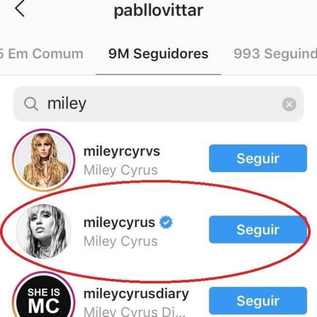 Miley Cyrus segue Pabllo Vittar no Instagram