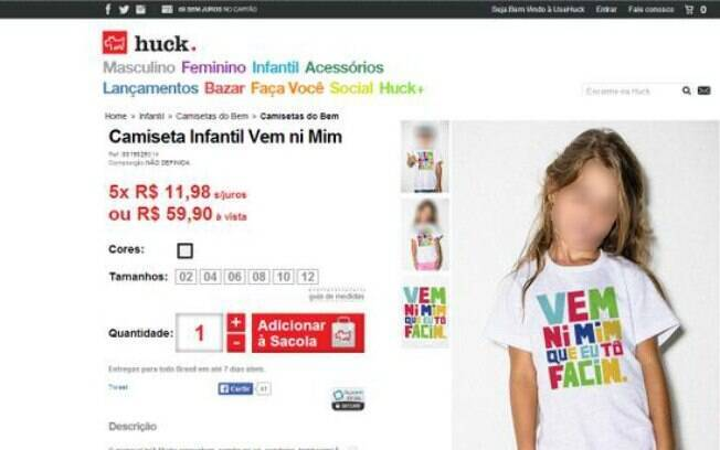 Camiseta que era vendida no site UseHuck