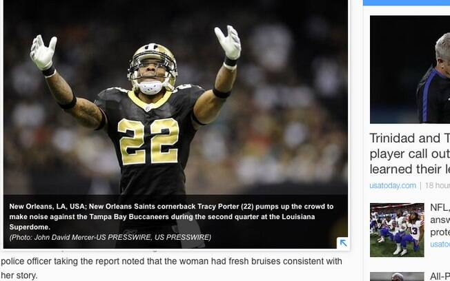 Tracy Porter ganhou fama por lance decisivo para o New Orleans Saints no Super Bowl de 2009