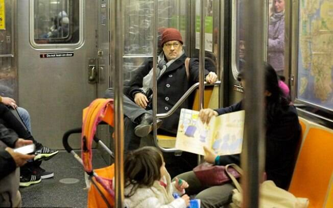 Tom Hanks no metrô de Nova York